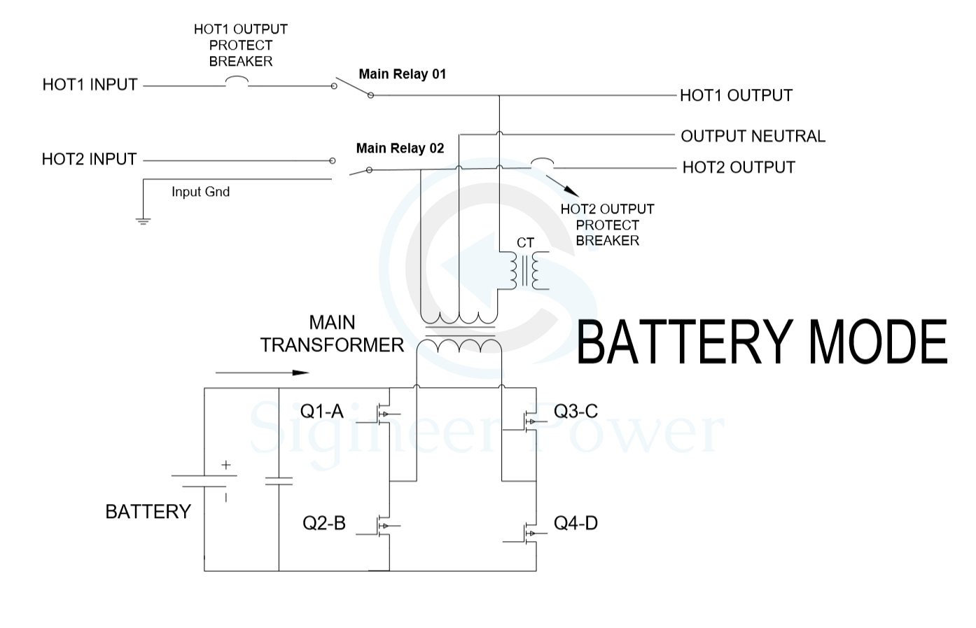 split phase inverter schematic of AC and inverter mode on